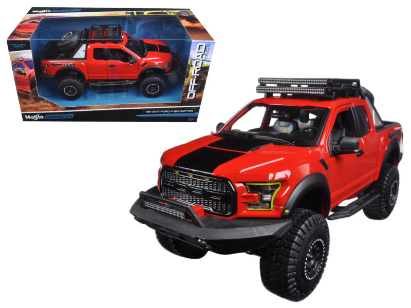 2017 Ford F-150 Raptor Pickup Truck Red Off Road Kings 1/24 Diecast Model Car Maisto 32521