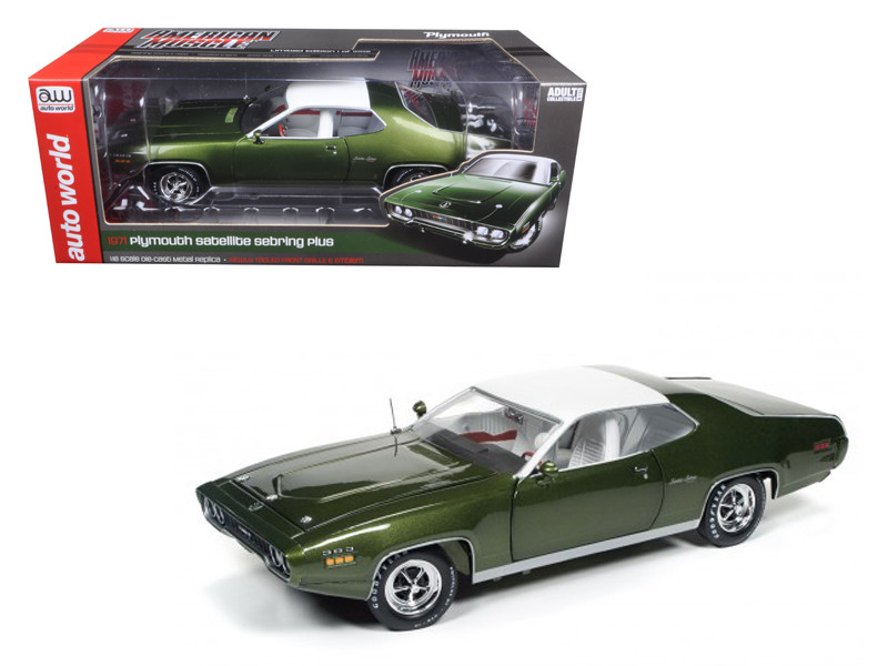 1971 Plymouth Satellite Sebring Plus Sherwood Green Metallic Limited Edition to 1002pcs 1/18 Diecast Model Car Autoworld AMM1092