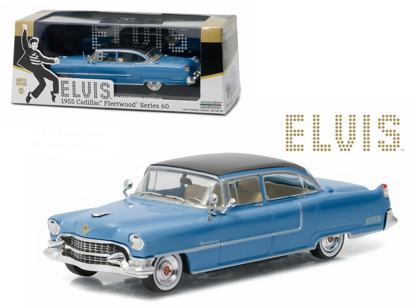 Elvis Presley 1955 Cadillac Fleetwood Series 60 Blue Cadillac 1935-1977 1/43 Diecast Model Car Greenlight 86493