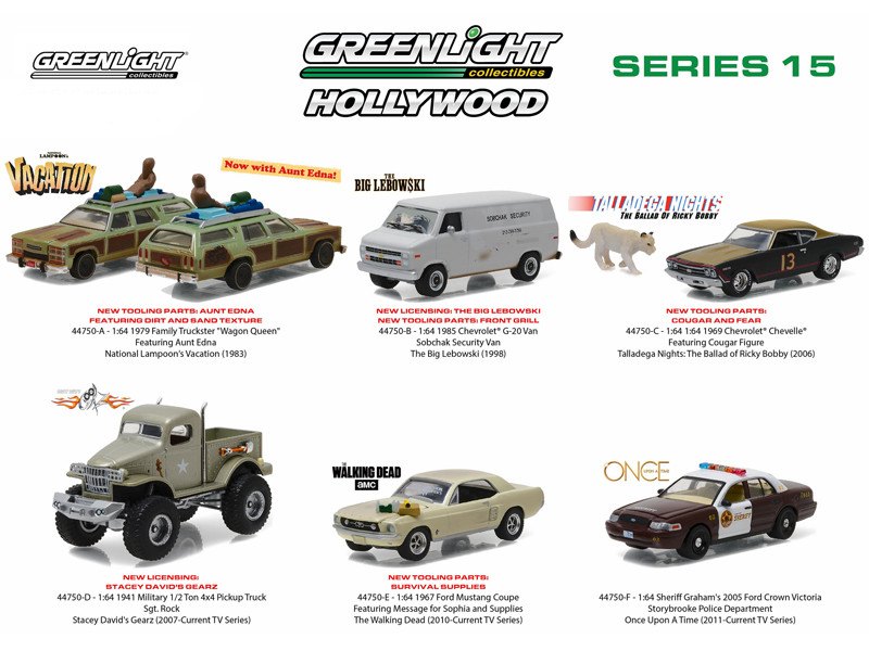 Hollywood Series Release 15 6pc Diecast Car Set 1/64 Diecast Model Cars Greenlight 44750