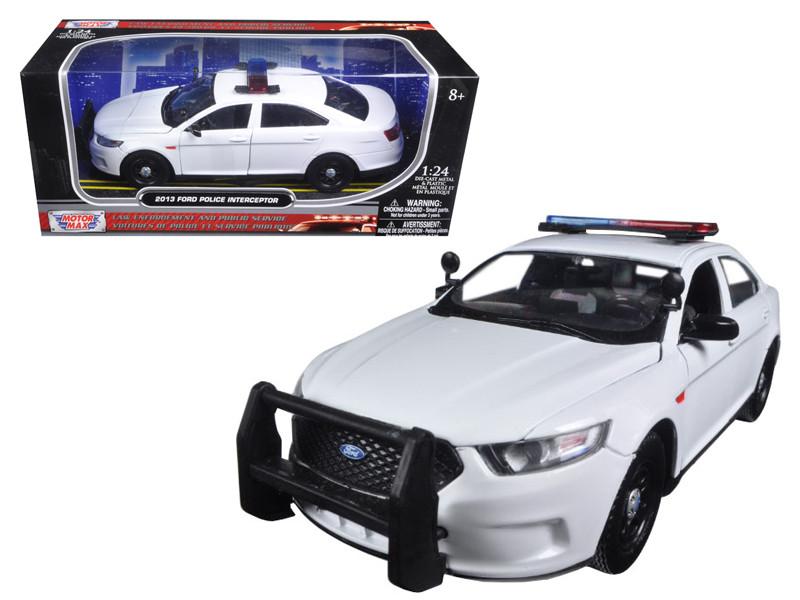 2013 Ford Police Interceptor Unmarked White Police Car 1/24 Diecast Car Model Motormax 76924