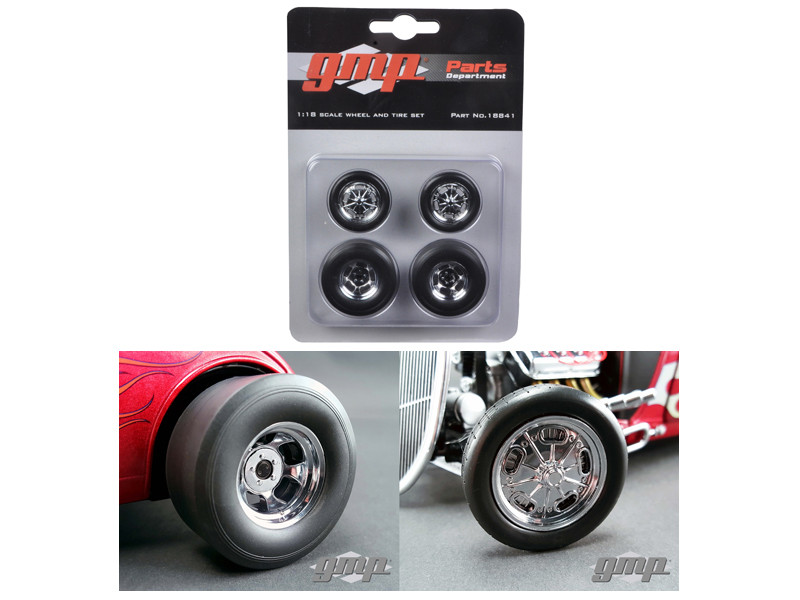 Chromed Hot Rod Drag Wheels and Tires Set of 4 1/18 GMP 18841