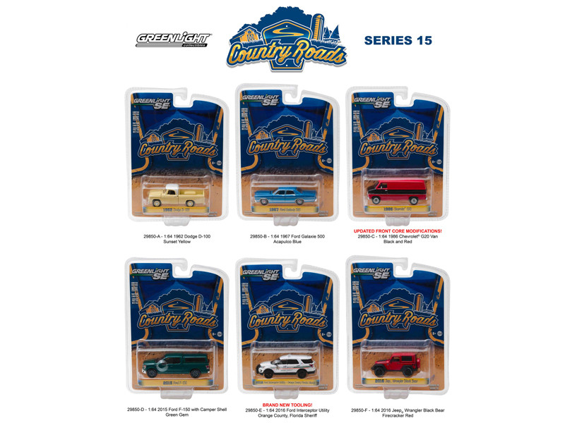 Country Roads Release 15 6pc Diecast Car Set 1/64 Diecast Model Cars Greenlight 29850