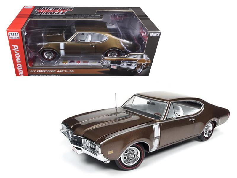 1968 Oldsmobile Cutlass 442 Hardtop Cinnamon Bronze Limited Edition to 1002 pcs 1/18 Diecast Model Car Autoworld AMM1084