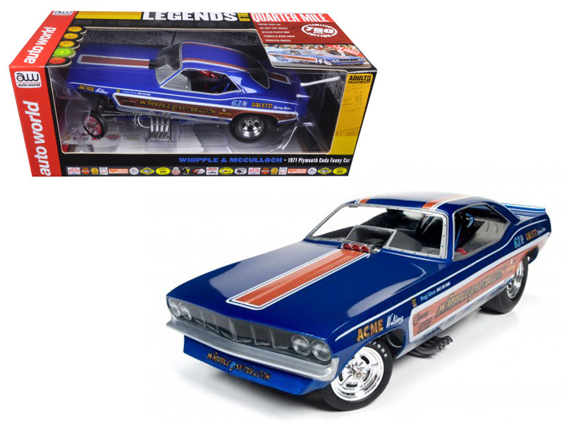 Whipple & McCullough 1971 Plymouth Cuda Funny Car Ed McCullough Limited Edition to 750 pcs 1/18 Model Car Autoworld AW1176