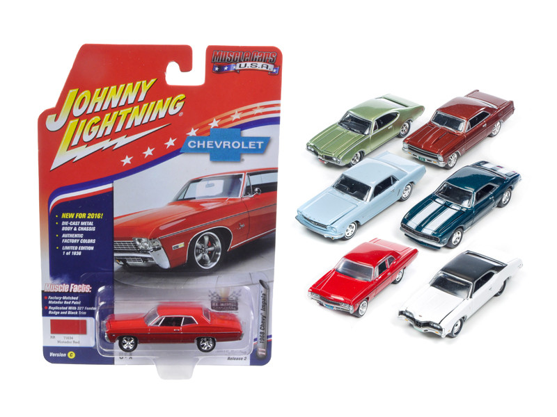 Muscle Cars USA Set of 6 cars 1/64 Diecast Model Cars Johnny Lightning