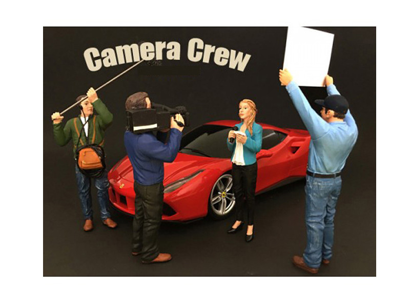 Camera Crew 4 Piece Figure Set For 1:18 Scale Models American Diorama 77427 77428 77429 77430