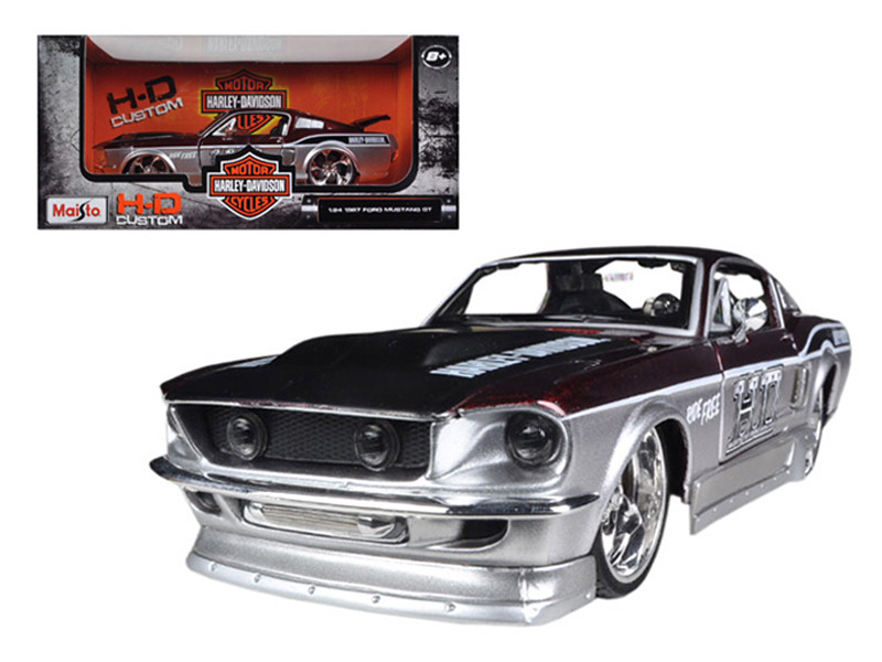 1967 Ford Mustang GT Red /Silver Harley Davidson 1/24 Diecast Model Car Maisto 32168