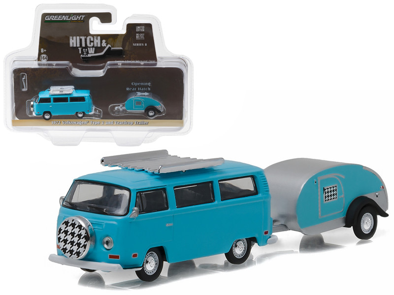 1972 Volkswagen Type 2 Bus Blue and Teardrop Trailer Hitch & Tow Series 8 1/64 Diecast Model Car Greenlight 32080 C