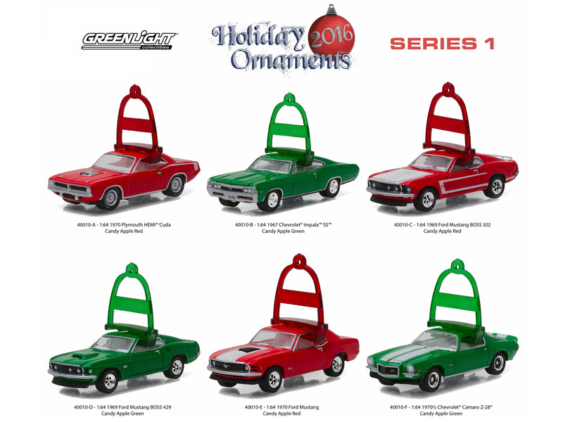 Greenlight Holiday Ornaments Series 1 6pc Diecast Car Set 1/64 Diecast Model Cars Greenlight 40010