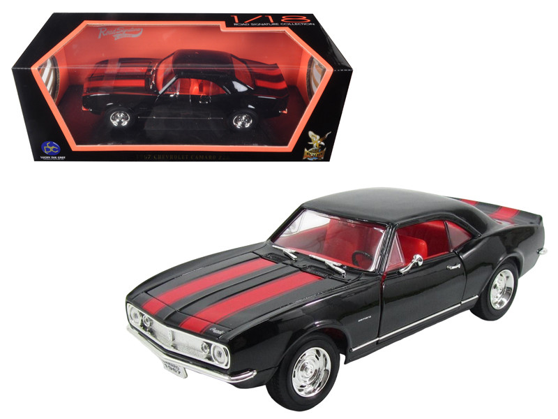 1967 Chevrolet Camaro Z/28 Black with Red Stripes 1/18 Diecast Model Car Road Signature 92188