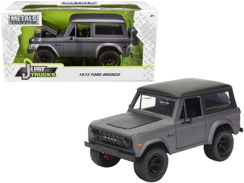 1973 Ford Bronco Matt Grey 1/24 Diecast Model Car Jada 98279