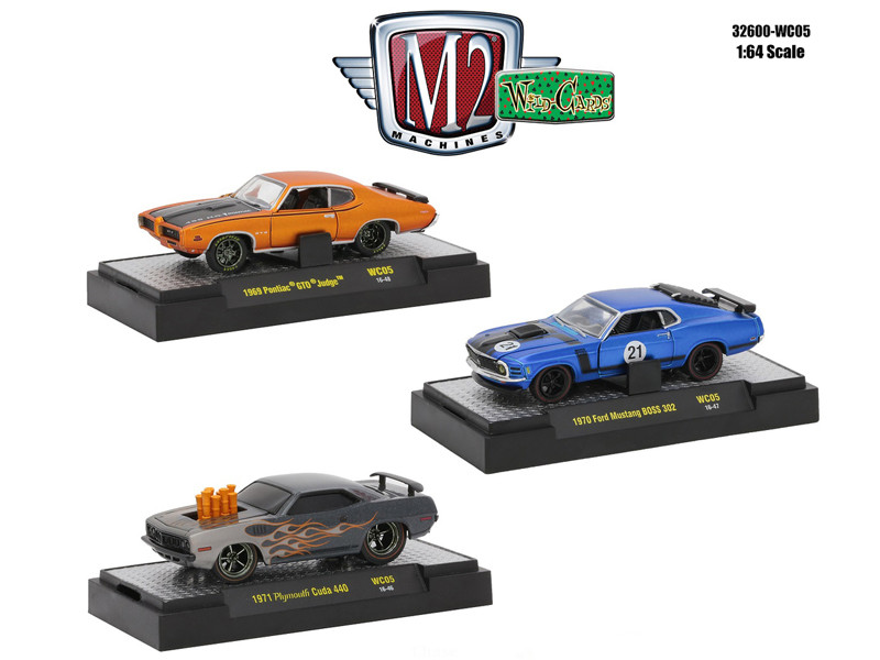 Wild Cards Set of 3 WITH CASES 1/64 Diecast Models by M2 Machines