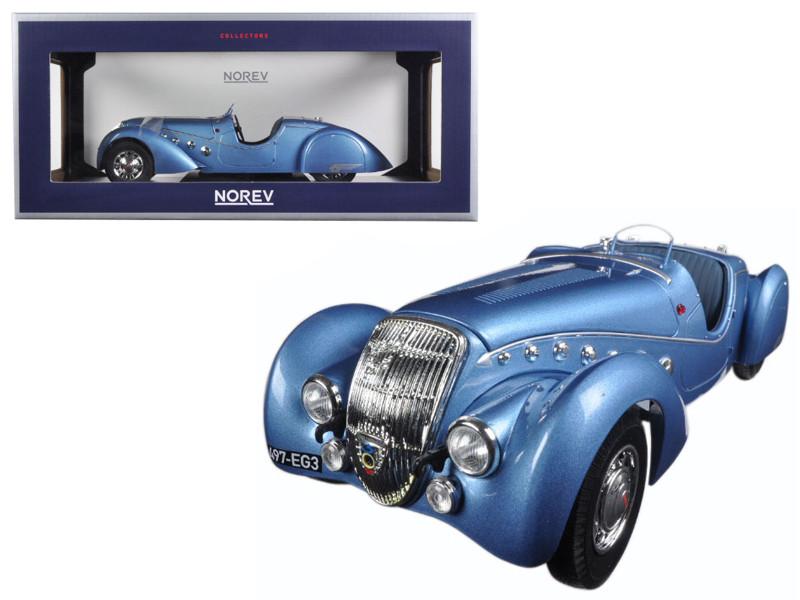 1937 Peugeot 302 Darl Mat Roadster Blue Metallic 1/18 Diecast Model Car Norev 184821