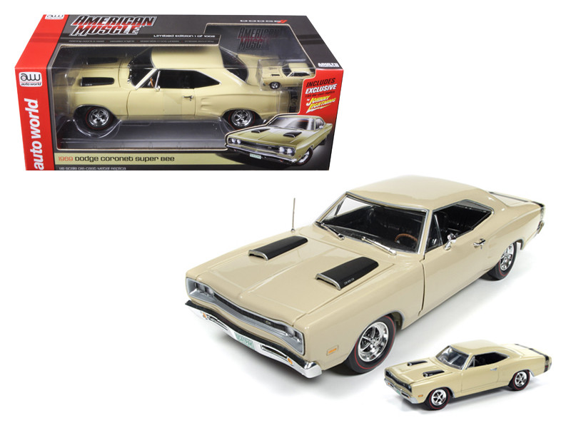 1969 Dodge Coronet Super Bee Y3 Cream 1/18 & 1/64 2 Pack Limited Edition to 1002pc Diecast Model Car Autoworld AMM1094
