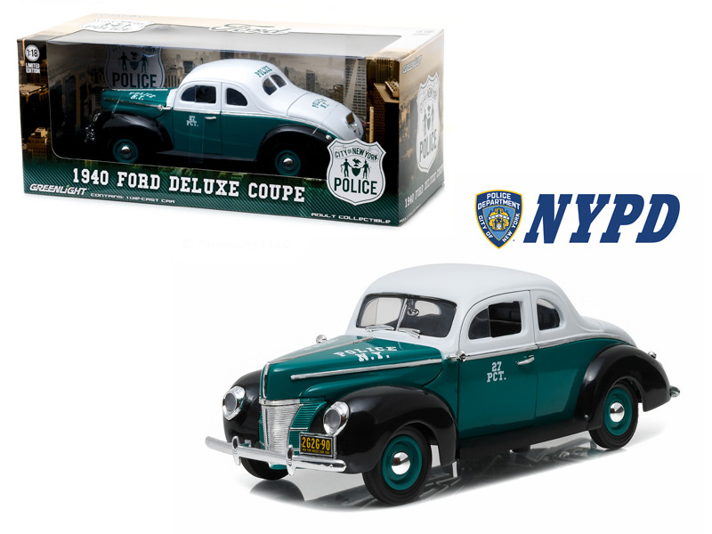 1940 Ford Deluxe Coupe New York City Police Department NYPD 1/18 Diecast Model Car Greenlight 12972