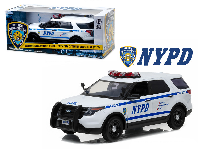 2015 Ford Police Interceptor Utility New York City Police Department NYPD 1/18 Diecast Model Car Greenlight 12973