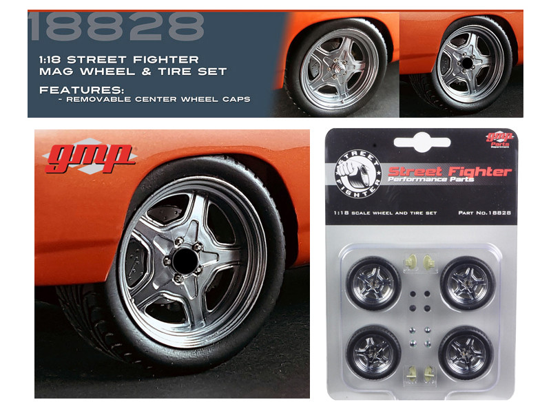 Wheel and Tire Set of 4 from 1970 Plymouth Road Runner The Hammer Furious 7 Movie 1/18 GMP 18828