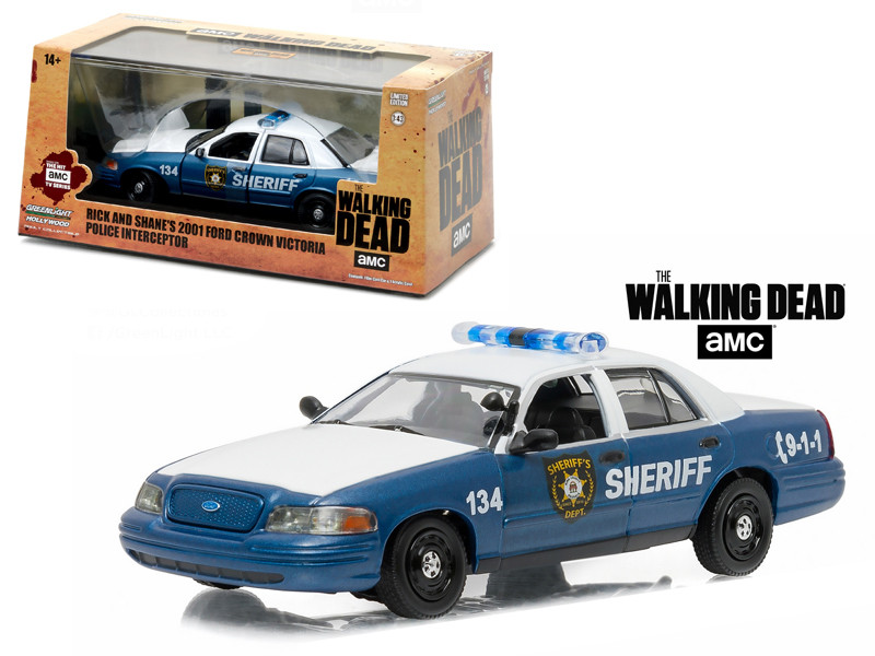Rick and Shane's 2001 Ford Crown Victoria Police Interceptor The Walking Dead 2010-Current TV Series 1/43 Diecast Model Car Greenlight 86504