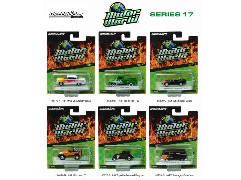 Motor World Series 17 6pc Diecast Car Set 1/64 Diecast Model Cars Greenlight 96170