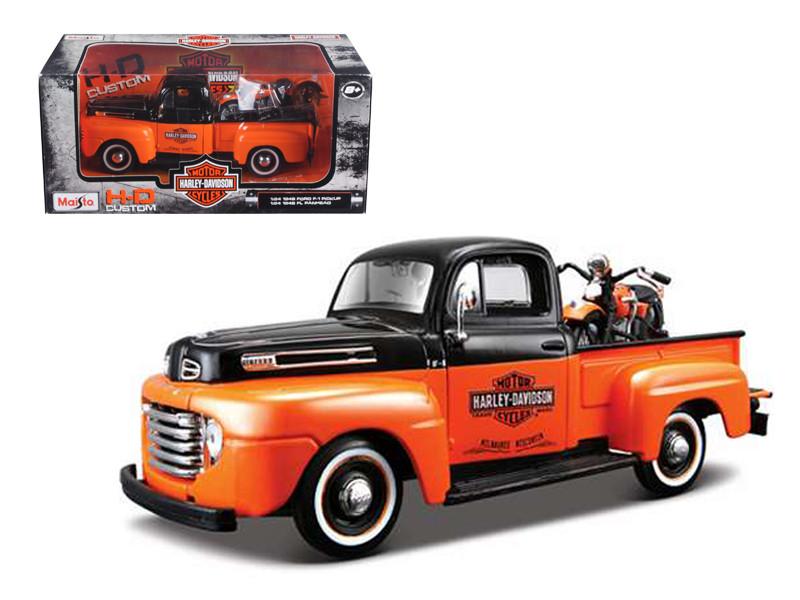 1948 Ford F-1 Pickup Truck Harley Davidson With 1948 FL Panhead Motorcycle Orange/Black 1/24 Maisto 32171