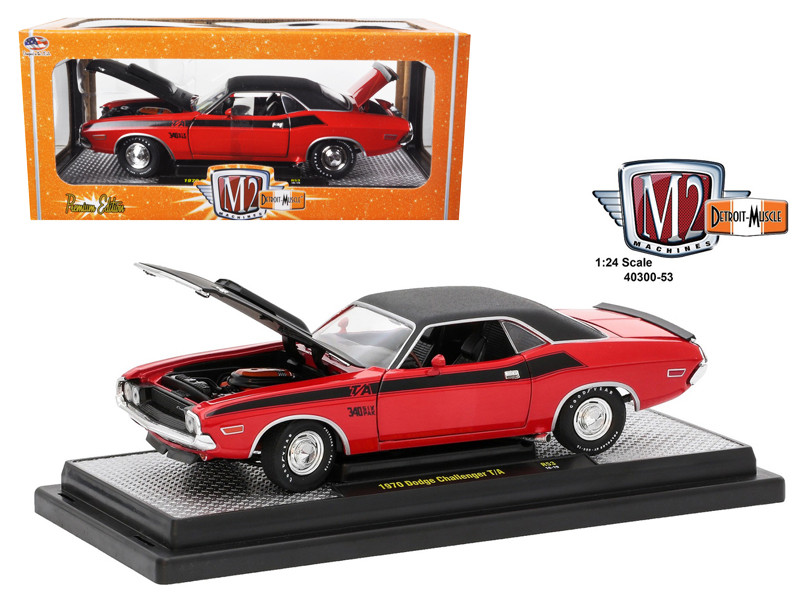 1970 Dodge Challenger T/A Bright Red with Flat Black Stripes 1/24 Diecast Model Car M2 Machines 40300-53 A