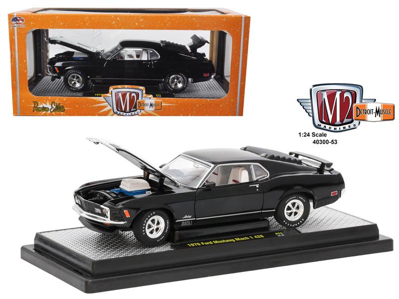 1970 Ford Mustang Mach 1 428 Black 1/24 Diecast Model Car M2 Machines 40300-53 C