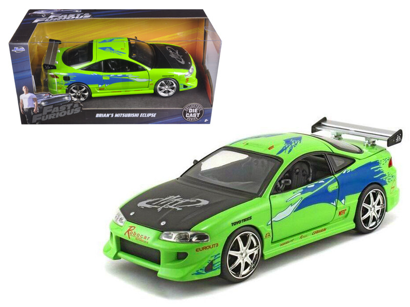 Brian's Mitsubishi Eclipse Green The Fast & Furious Movie 2001 1/24 Diecast Model Car Jada 97603