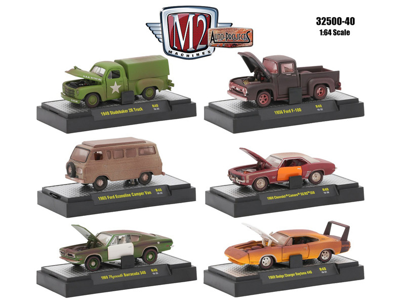 Auto Projects 6 Piece Set Release 40 IN DISPLAY CASES 1/64 Diecast Model Cars M2 Machines 32500-40
