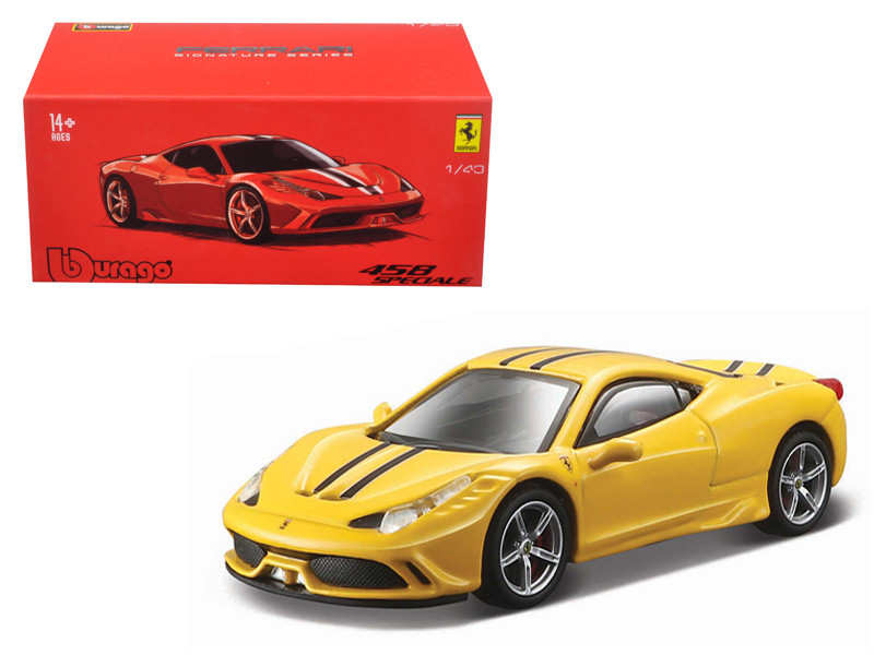 Ferrari 458 Speciale Yellow Signature Series 1/43 Diecast Model Car Bburago 36901