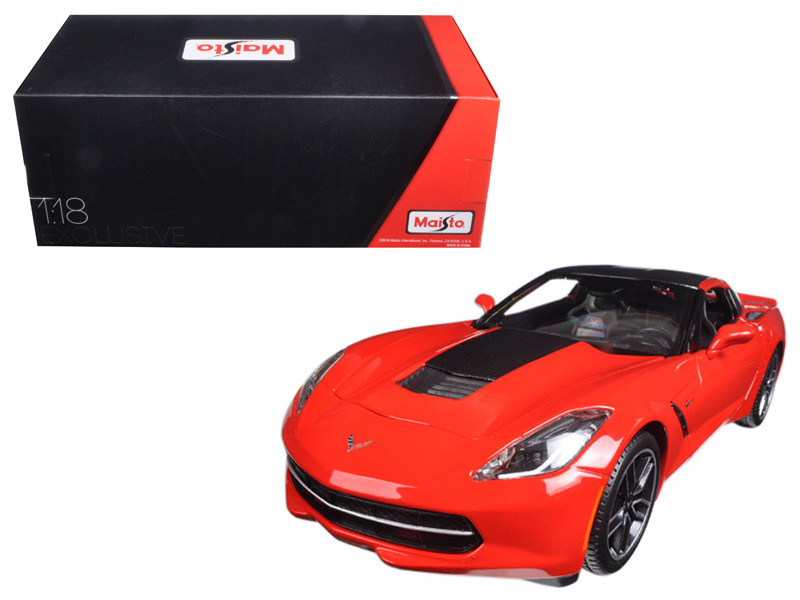 2014 Chevrolet Corvette Stingray C7 Z51 Red Exclusive Edition 1/18 Diecast Model Car Maisto 38132