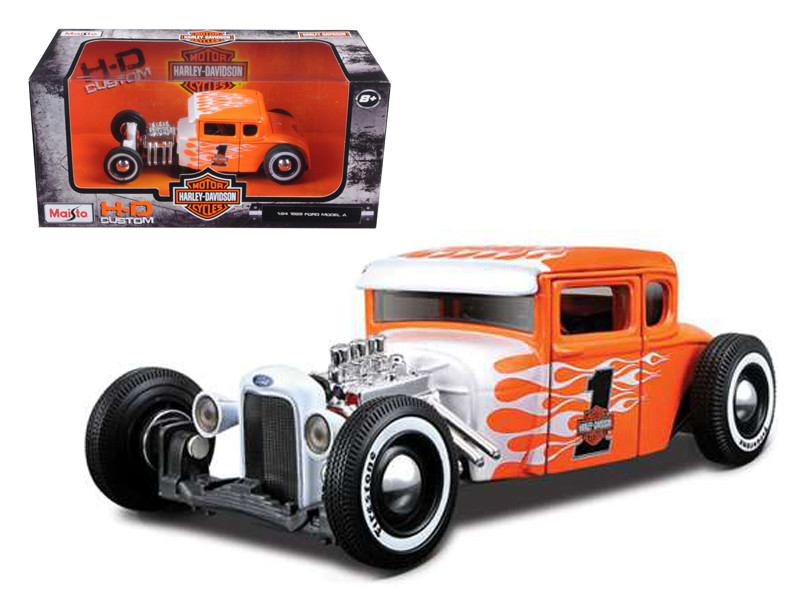 1929 Ford Model A Harley Davidson Orange With Flames #1 1/24 Diecast Model Car Maisto 32175