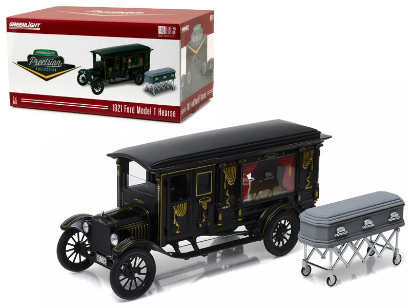 1921 Ford Model T Ornate Carved Hearse with Coffin Black Precision Collection Limited Edition 1/18 Diecast Model Car Greenlight 18013