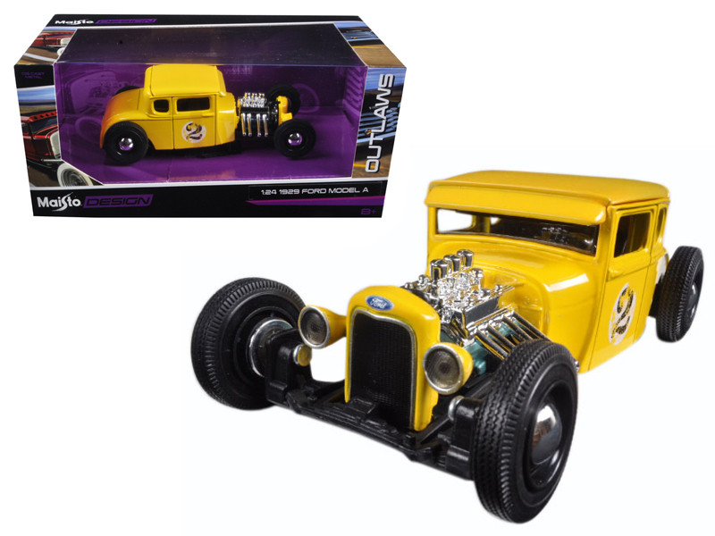 1929 Ford Model A Yellow #2 Outlaws 1/24 Diecast Model Car Maisto 31354