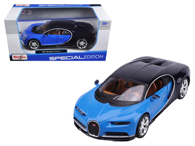 Bugatti Chiron Blue Black 1/24 Diecast Model Car Maisto 31514