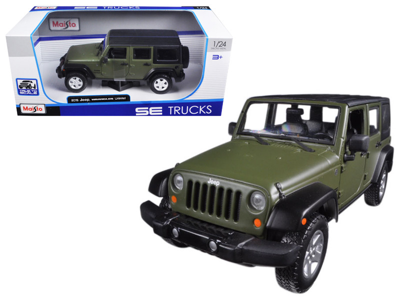 2015 Jeep Wrangler Unlimited Green 1/24 Diecast Model Car Maisto 31268