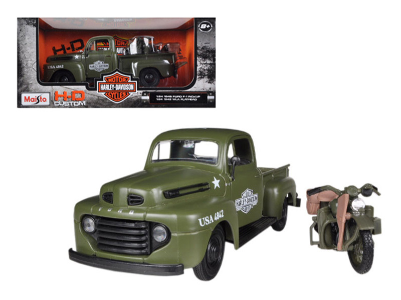 1948 Ford F-1 Pickup Truck Harley Davidson Flat Green With 1942 Harley Davidson WLA Flathead Motorcycle 1/25 Maisto 32185