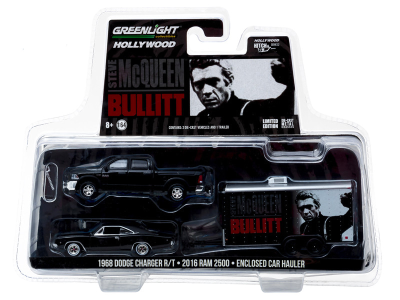 2016 Ram 2500 and 1968 Dodge Charger R/T Bullitt 1968 in Enclosed Car Hauler 1/64 Diecast Model Cars Greenlight 31020 B
