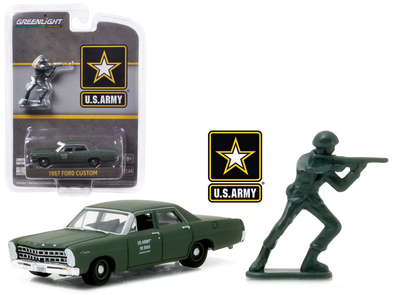 1967 Ford Custom US Army with Soldier Figure 1/64 Diecast Model Car Greenlight 29883
