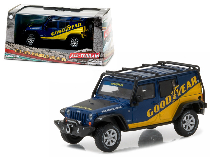 2016 Jeep Wrangler Unlimited Good Year with Roof Rack Fender Flares and Winch With Display Showcase 1/43 Diecast Model Car Greenlight 86080