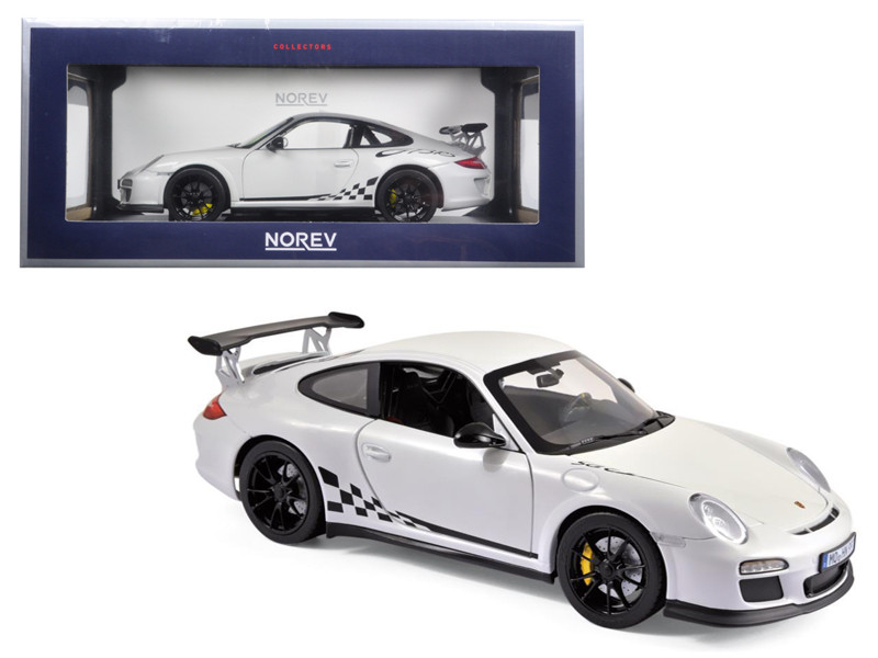 2010 Porsche 911 GT3 RS White and Black Trim 1/18 Diecast Model Car Norev 187561