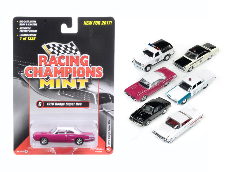Mint Release 2017 Set A Set of 6 cars 1/64 Diecast Model Cars by Racing Champions