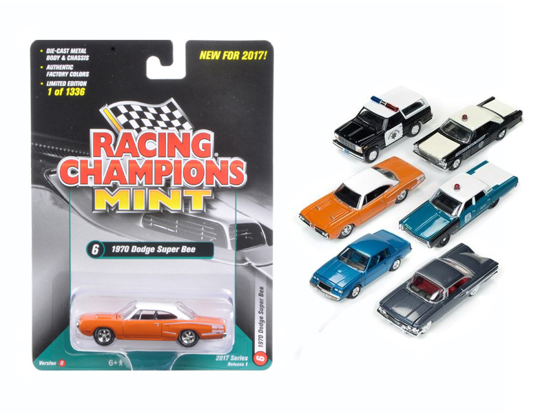 Mint Release 2017 Set B Set of 6 cars 1/64 Diecast Model Cars by Racing Champions
