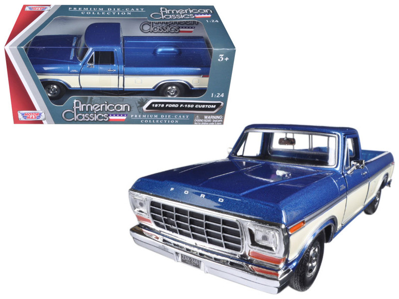 1979 Ford F-150 Pickup Truck 2 Tone Blue Cream 1/24 Diecast Model Car Motormax 79346