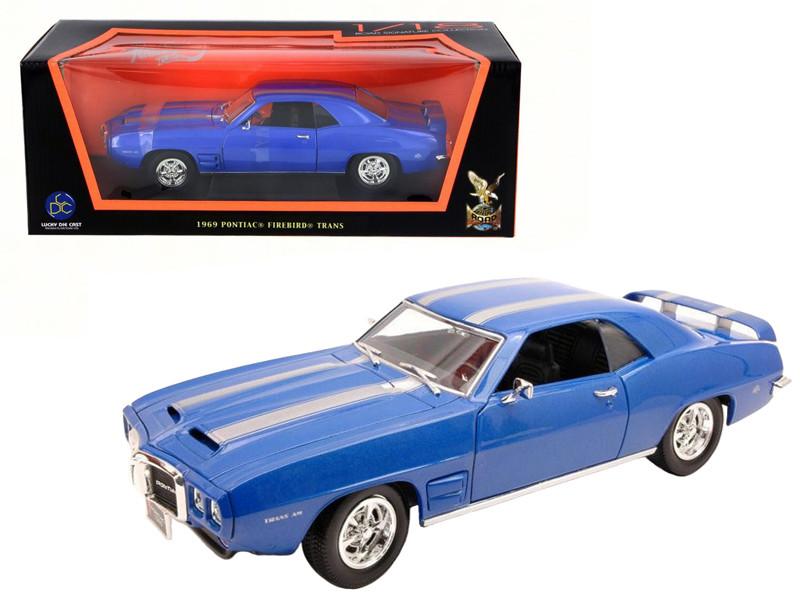 1969 Pontiac Firebird Trans Am Blue 1/18 Diecast Model Car Road Signature 92368