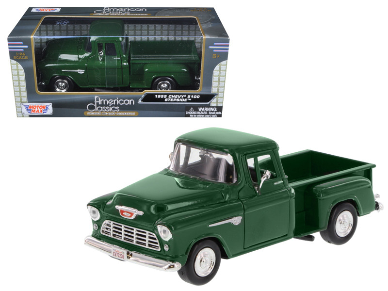 1955 Chevrolet 5100 Stepside Pickup Truck Green 1/24 Diecast Model Car Motormax 73236