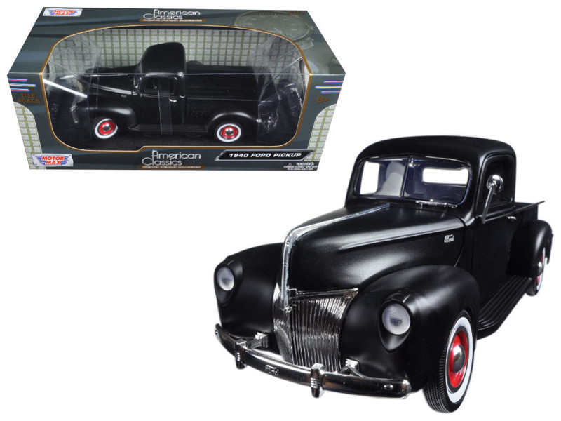 1940 Ford Pickup Matt Black 1/18 Diecast Model Car Motormax 73170