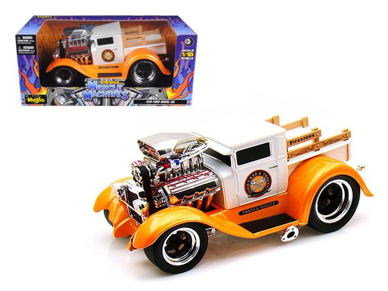 "1929 Ford Model AA Orange/White ""Muscle Machines"" 1/18 Diecast Model Car Maisto 32201"