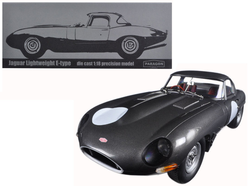 Jaguar Lightweight E-Type Continuation Gunmetal 1/18 Diecast Model Car Paragon 98371