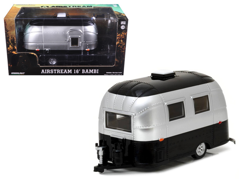 Airstream Bambi 16' Camper Trailer Black Silver for 1/24 Scale Model Cars and Trucks 1/24 Diecast Model Greenlight 18226